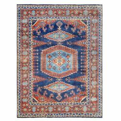 9and0391x12and039 Organic Wool Farsian Viss Design Hand Knotted Denim Blue Rug R63100