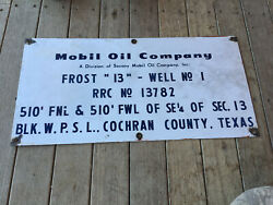 Vintage Mobil Oil Company Porcelain Sign Well No 1 Cochran County Texas