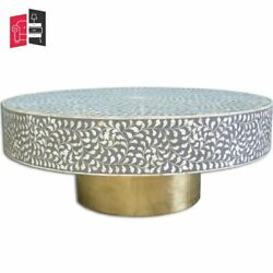 Bone Inlay Floral Design Coffee Table Grey Made To Order
