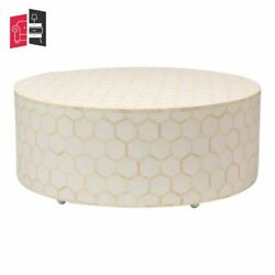 Bone Inlay Honeycomb Design Round Coffee Table Off White Made To Order
