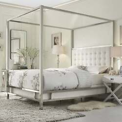 Solivita King-size Canopy Chrome Metal Poster Bed By Inspire