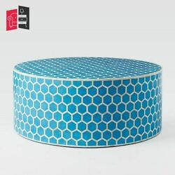 Bone Inlay Honeycomb Design Round Coffee Table Blue Made To Order
