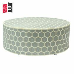 Bone Inlay Honeycomb Design Round Coffee Table Grey Made To Order