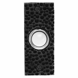 Waterwood Solid Brass Small Hammered Plate Doorbell In Black