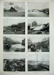 Old Antique Print 1897 Sea Storm Weather Cornwall Yarmouth Margate Boat 19th