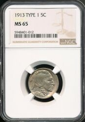 1913 Buffalo Nickel Ngc Ms 65 First Year Of Issue, Sharply Struck