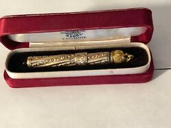 Russian Antique Combination Of Gold And Metal Ink Pen