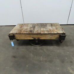 Antique Industrial Factory Warehouse Railroad Coffee Table Cart 24x48x17h