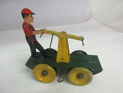 Vintage Girard Toy Co Railroad Handcar Wind Up Tin Toy Works 117-e