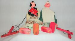 Vintage String Wood Popeye And Olive Oyl Marionette Puppets 1940's