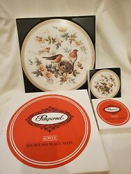 Vintage Pimpernel Robin And Roses Matching Placemats And Coasters 6 Of Each