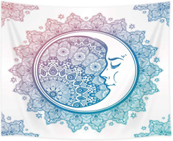 Shocur Bohemian Tapestry Blue Mandala and White Moon Tapestry Home Decor Wall