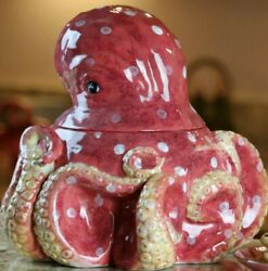 Blue Sky Clayworks By Heather Goldminc Large Red Octopus Cookie Jar
