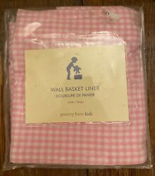 New Pottery Barn Kids Wall Basket Liner Wide Large Pink White Gingham