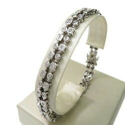 Double Design Diamond 1.50ct In Total Ble Rubbed T K18wg White Gold 19.0g 7....