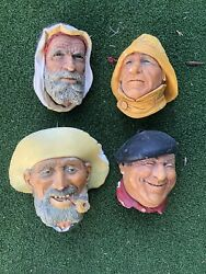 Bosson Chalkware Heads Lot Of 4 Wall Mountable Made In England Vintage Rare 1