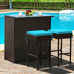 3pcs Patio Rattan Wicker Bar Table Stools Dining Set Cushioned Chairs Turquoise