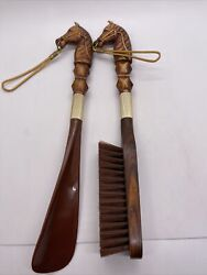 Shoe Horn And Brush Black Horse Head Japan Equestrian Collectible Vintage Used