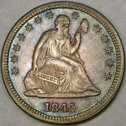 1845/845 Liberty Seated Silver Quarter Majestic Target Rainbow Toning Rpd Fs—301