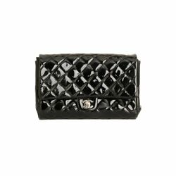Black Quilted Patent Clutch