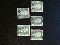 Lot Of 5. Thomas Jefferson Issue 1 Cent Stamp Forest Green And Gray .