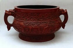 Red Lacquered Planter With 2 Dragon Handles Signed