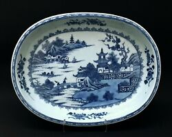 Antique Chinese Porcelain - Oriental Scene Blue And White Bowl - Unusual