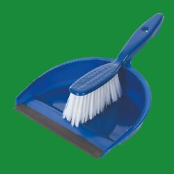 Dustpan And Brush Set Plastic Sweep Broom Soft Bristle Blue Indoor Home Cleaning