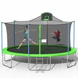 Tatub 16ft Trampoline For Kids Outdoor Trampoline With Safety Enclosure Net Bas