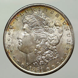 1881s United States Of America Silver Morgan Antique Us Dollar Coin Eagle I93048