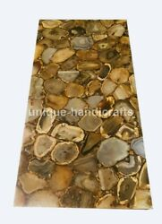 Wild Agate Stone Rectangle Hallway Top Dinnerware Dining Table Precious Stoned