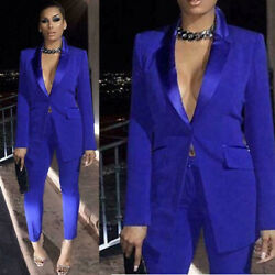 Blue Women Ladies Suits Pants Formal Business Party Womenand039s Office Work Wear 2pc