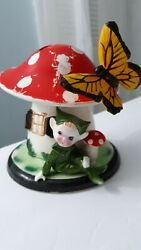Vintage Lefton Hand Painted Pixie Mushroom Home Dancing Butterfly Bank 6h