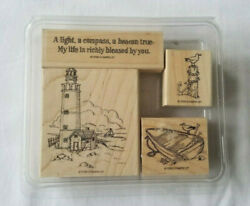 Assorted Set Of 4 Wood Mounted Rubber Ink Stamps Nautical Beach Lighthouse Boat