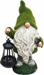Flocked Garden Gnome Statue Holding Lantern Large Outdoor Gnome ...
