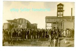 Cherry Illinois Il -st Paul Mine Disaster-crowds At Wrecked Shaft- Rppc Postcard