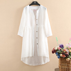 Summer Loose Cotton And Linen Cardigan Womenand039s Solid Color Long Thin Coat