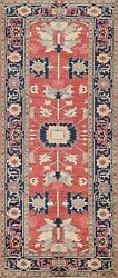 Vegetable Dye Heriz Serapi Oriental Runner Rug Hand-knotted Red/ Navy Blue 3and039x8and039