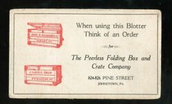 Johnstown Pa Blotter Peerless Folding Box And Crate Co Cahill Syracuse Parsons Ny