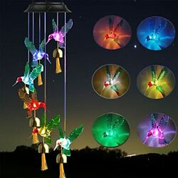 Youandai Hummingbird Solar Wind Chimes With Bells Outdoor Solar Led String Ligh...