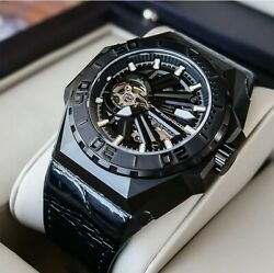 Reef Tiger/rt Men Sports Watches Skeleton Steel Automatic Mechanical Luminous