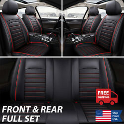 Full Set Seat Cover Car Saloon Suv Truck Leather 5 Layer Protector Cushion Black
