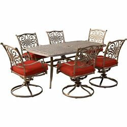 Traditions7pc 6 Swivel Rockers 38x72 Cast Table - Red/cast