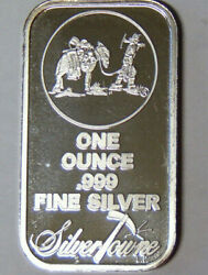 Silvertowne Bar With Prospector And Mule Logo 1 Oz .999 Fine Silver 7521