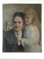 Antique Old Master Victorian 19th Century Old Lady And Girl Portrait Oil Painting
