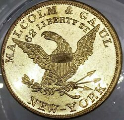 1850and039s Malcolm And Gaul Ny-515b R-6 Dry Goods New York City Merchant Token
