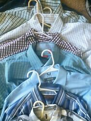 Collection Of 9 Nice Men's Dress Shirts Various Brands L Or 16.5 34/35