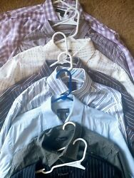 Collection Of 7 Nice Men's Dress Shirts And Vest Various Large L Or 16.5 34/35