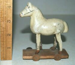 Late 1800s Early 1900s Made In Germany Small Pull Toy Horse With Wood Wheel Base