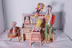 Vintage 1945 L'il Abner And His Dogpatch Band Tin Litho Piano Windup Toy Pioneer